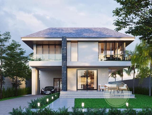 biet thu hien dai toi gian - Thiết kế biệt thự hiện đại 2 tầng tối giản
