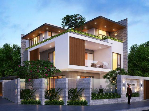 mau nha 2 tang 2 mat tien 2 e1592816515508 - Những mẫu nhà 2 tầng 2 mặt tiền mái thái hot nhất hiện nay