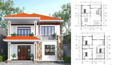 nha vuong 2 tang mai thai 400x225 - Mẫu nhà vuông 2 tầng mái thái mặt với thiết kế sang trọng mà bạn nên tham khảo.