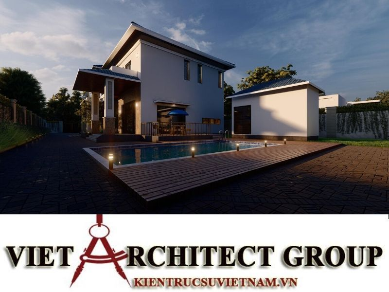 thiet ke biet thu 2 tang mai thai 4 - Công trình biệt thự 2 tầng mái thái sân vườn có hồ bơi đẹp
