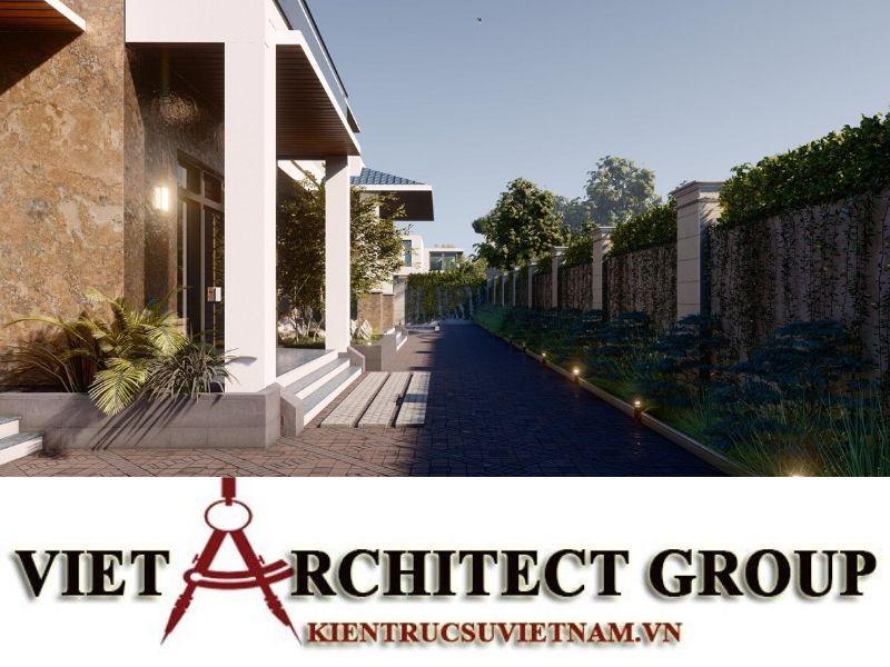 thiet ke biet thu 2 tang mai thai 5 - Công trình biệt thự 2 tầng mái thái sân vườn có hồ bơi đẹp