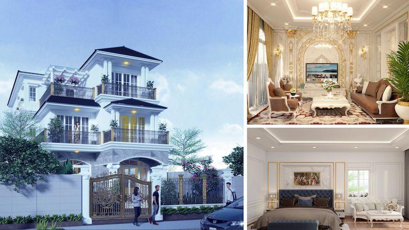 thiet ke biet thu tan co dien 5 - Thiết kế biệt thự 3 tầng kiến trúc tân cổ điển ở Huế