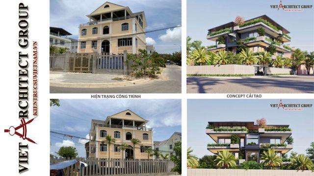 thiet ke biet thu vung tau 1 - Phương án cải tạo thiết kế biệt thự 3 tầng hiện đại nhiều không gian xanh