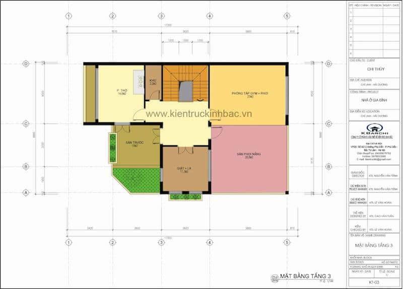 3 - Công trình thiết kế biệt thự hiện đại góc phố 3 tầng đẹp chị Thuỷ - Chí Linh, Hải Dương