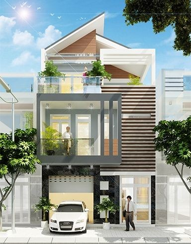 Mau nha 3 tang mai lech voi dien tich mat tien 9m dai 17m mang phong cach hien dai 2 - Mẫu thiết kế nhà 3 tầng mái lệch đẹp, hiện đại