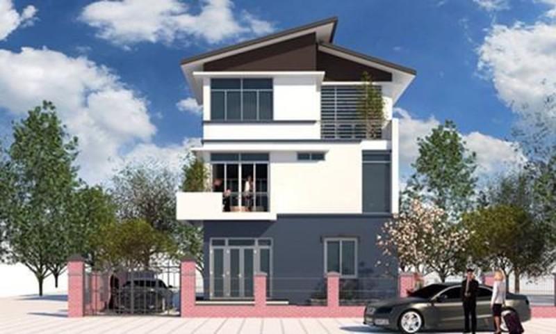 Nha 3 tang mai lech la mau thiet ke duoc lua chon nhieu nhat hien nay 1 - Mẫu thiết kế nhà 3 tầng mái lệch đẹp, hiện đại