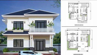 ban ve thiet ke nha vuong 2 tang 8x10 1 400x225 - Tổng hợp các bản vẽ thiết kế nhà vuông 2 tầng 8x10m đẹp ấn tượng
