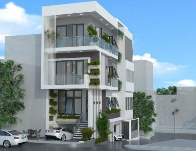 biet thu 3 tang co tang ham dep 1 400x308 - Thiết kế Biệt thự 3 tầng có tầng hầm đẹp