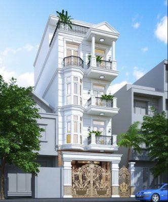 biet thu 4 tang tan co dien o pho 1 332x400 - Thiết kế Biệt thự 4 tầng tân cổ điển ở phố đẹp