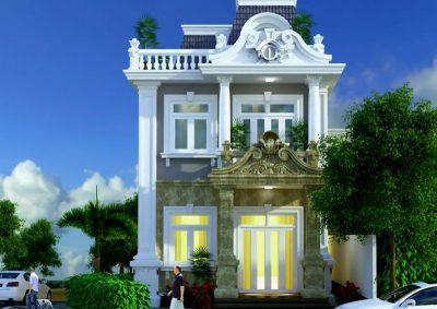 biet thu tan co dien 3 tang 3 Copy 400x283 - Mẫu thiết kế nhà biệt thự 3 tầng hiện đại và sang trọng