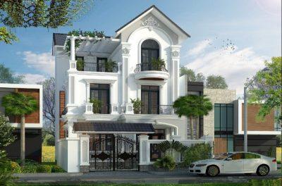 bt1 400x264 - Mẫu thiết kế biệt thự Pháp 3 tầng 11m mặt tiền