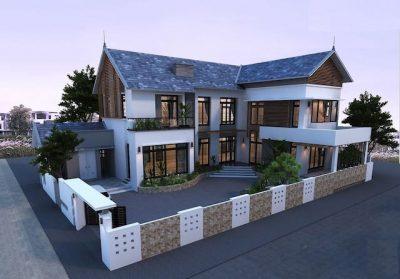mau nha 2 tang chu l 100m2 400x279 - Tư vấn thiết kế nhà nhà 2 tầng 7x12m đẹp tối ưu công năng phong thuỷ