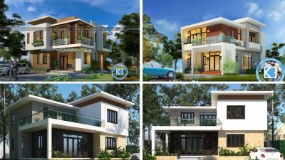 mau nha vuong 2 tang mai bang 2 400x225 - Tham khảo các mẫu nhà vuông 2 tầng mái bằng đẹp tối ưu công năng phong thuỷ