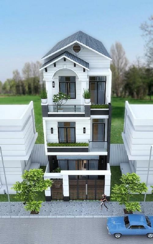 nha mai thai - Mẫu nhà 4x10m 3 tầng xinh đẹp giá rẻ