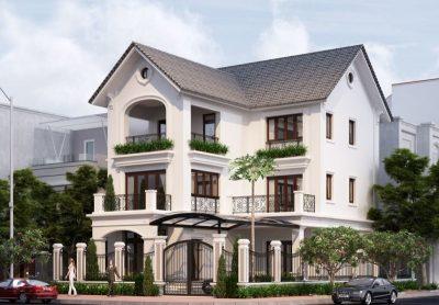 nhung mau thiet ke nha chu l 3 tang mai thai hien dai 2 400x278 - Những mẫu thiết kế nhà chữ L 3 tầng mái thái hiện đại