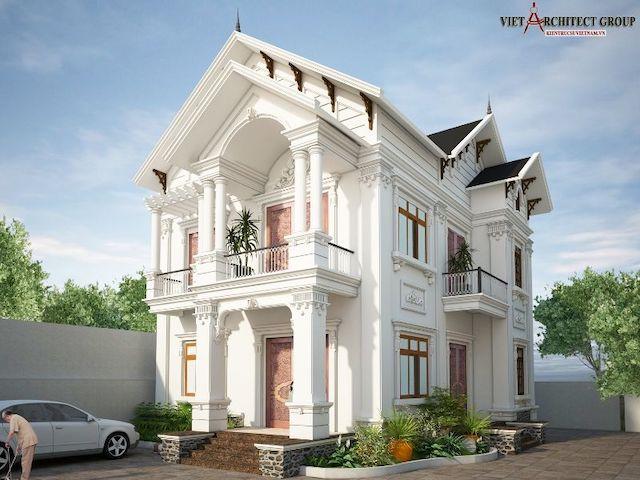 thiet ke biet thu 2 tang tan co dien 3 - Thiết kế biệt thự tân cổ điển 2 tầng đẹp sang trọng đẳng cấp