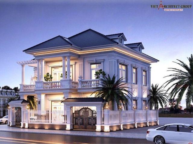 thiet ke biet thu 2 tang tan co dien 4 - Thiết kế biệt thự tân cổ điển 2 tầng đẹp sang trọng đẳng cấp