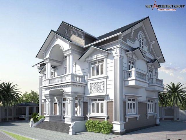 thiet ke biet thu 2 tang tan co dien 5 - Thiết kế biệt thự tân cổ điển 2 tầng đẹp sang trọng đẳng cấp