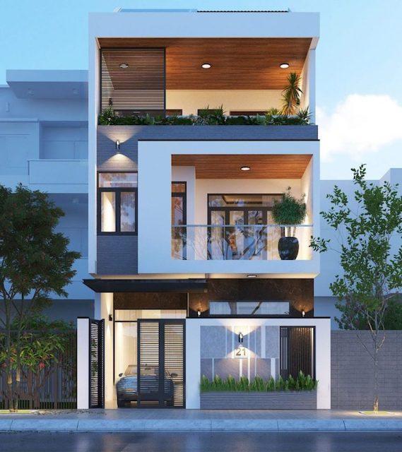 thiet ke nha dep 3 tang mat tien 7m dep 1 - Thiết kế nhà 3 tầng đẹp