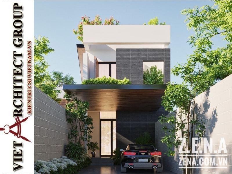 thiet ke biet thu 3 tang hien dai 1 - Thiết kế biệt thự hiện đại 3 tầng hiện đại nhiều cây xanh
