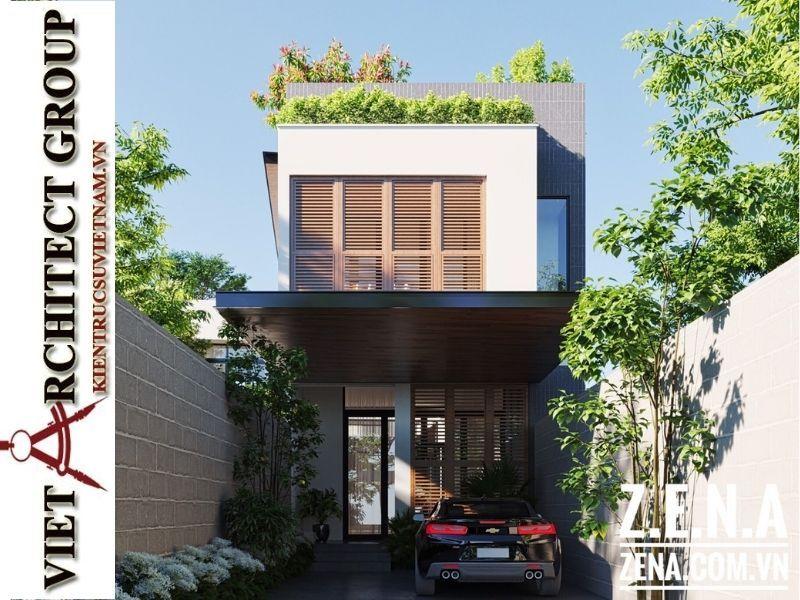 thiet ke biet thu 3 tang hien dai 2 - Thiết kế biệt thự hiện đại 3 tầng hiện đại nhiều cây xanh