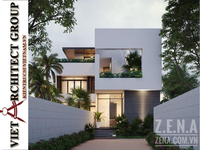 thiet ke biet thu 3 tang hien dai 4 - Thiết kế biệt thự hiện đại 3 tầng hiện đại nhiều cây xanh