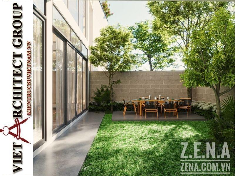 thiet ke biet thu 3 tang hien dai 7 - Thiết kế biệt thự hiện đại 3 tầng hiện đại nhiều cây xanh