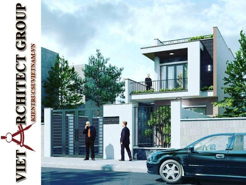 thiet ke nha pho 2 tang hien dai 1 - Thiết kế nhà phố 2 tầng có tum kiến trúc hiện đại