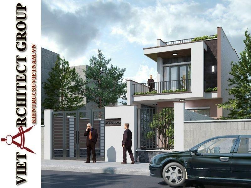 thiet ke nha pho 2 tang hien dai 2 - Thiết kế nhà phố 2 tầng có tum kiến trúc hiện đại