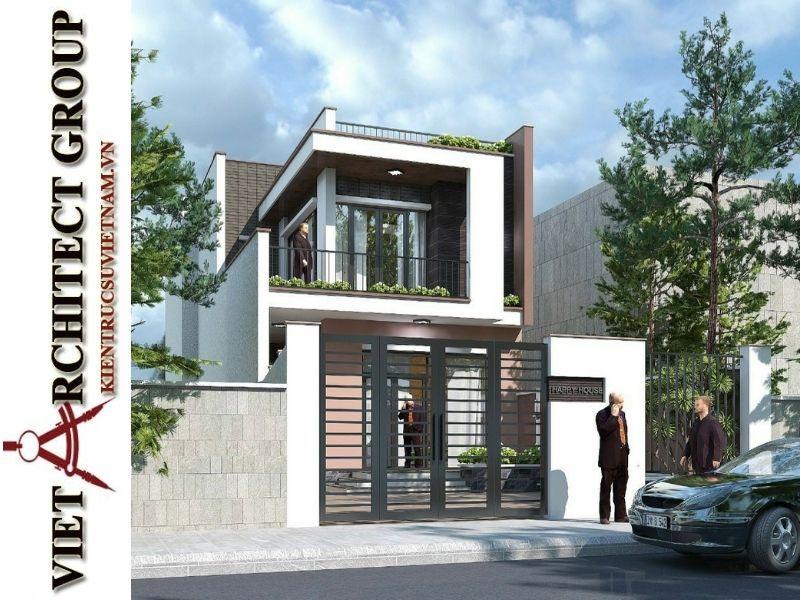 thiet ke nha pho 2 tang hien dai 3 - Thiết kế nhà phố 2 tầng có tum kiến trúc hiện đại