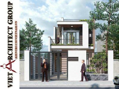 thiet ke nha pho 2 tang hien dai 4 400x300 - Thiết kế nhà phố 2 tầng có tum kiến trúc hiện đại