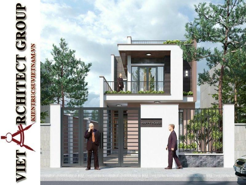 thiet ke nha pho 2 tang hien dai 4 - Thiết kế nhà phố 2 tầng có tum kiến trúc hiện đại