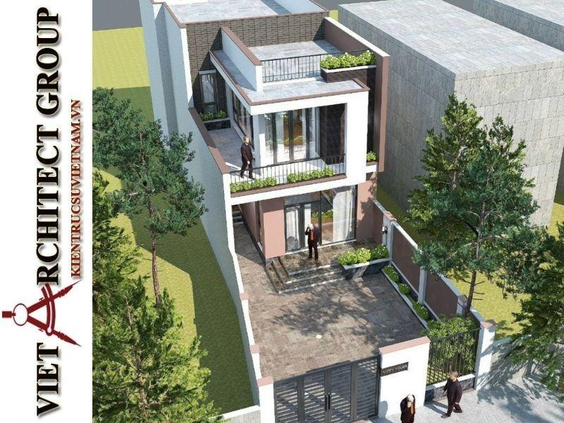 thiet ke nha pho 2 tang hien dai 5 - Thiết kế nhà phố 2 tầng có tum kiến trúc hiện đại