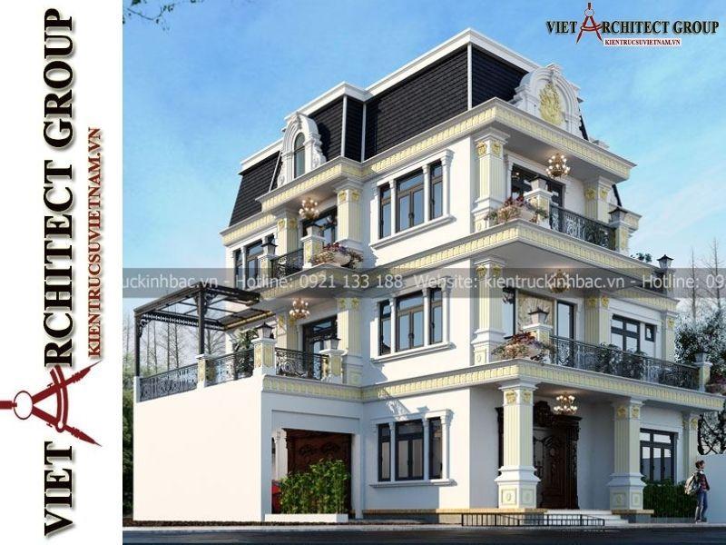 thiet ke biet thu tan co dien 3 tang 2 - Thiết kế thi công trọn gói biệt thự 3 tầng kiến trúc tân cổ điển gia đinh anh Huy
