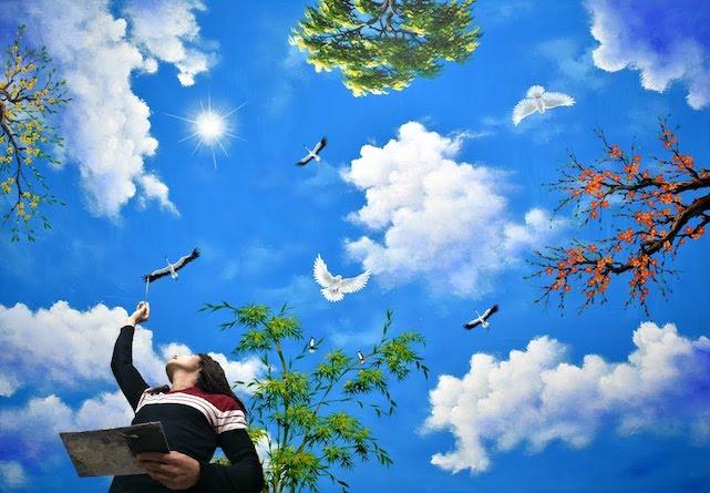 ve tran may 3d dep 1 - Hoạ sĩ Vẽ trần mây 3d đẹp