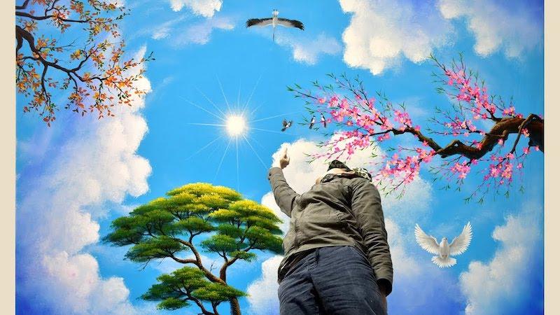 ve tran may 3d dep 3 - Hoạ sĩ Vẽ trần mây 3d đẹp
