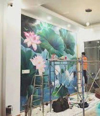 ve tranh tuong hoa sen dep 3 346x400 - Vẽ tranh tường tại Phú Thọ