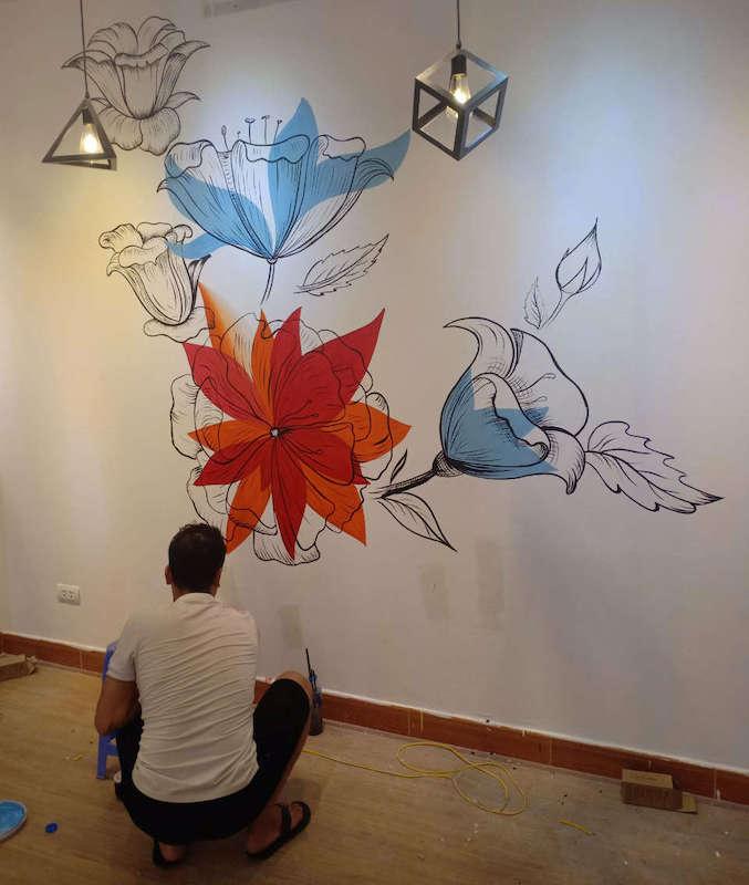 ve tranh tuong spa 3 - Vẽ tranh tường hoa lá đẹp ấn tượng