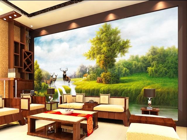 ve tranh tuong 3d phong khach 1 - Bộ bàn ghế sofa gỗ đẹp hiện đại sang trọng đẳng cấp
