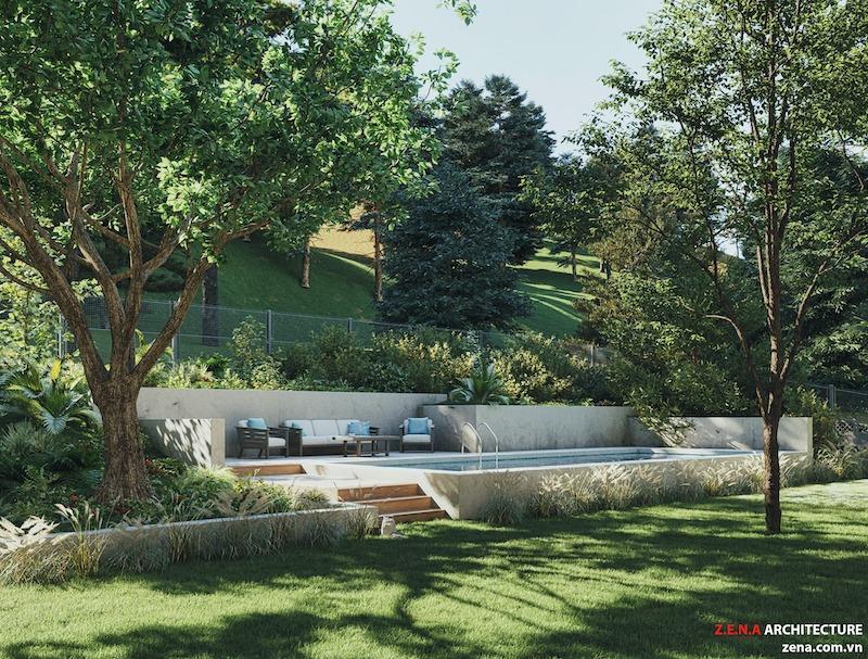 biet thu kieu my 2 - Thiết kế biệt thự kiểu Mỹ có sân vườn hồ bơi đẹp