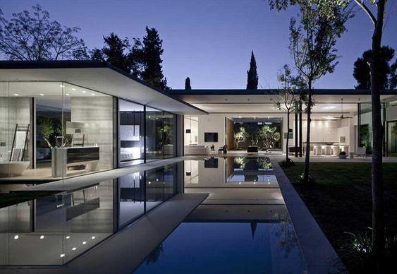biet thu kieu my hien dai 2 - Thiết kế biệt thự kiểu Mỹ có sân vườn hồ bơi đẹp