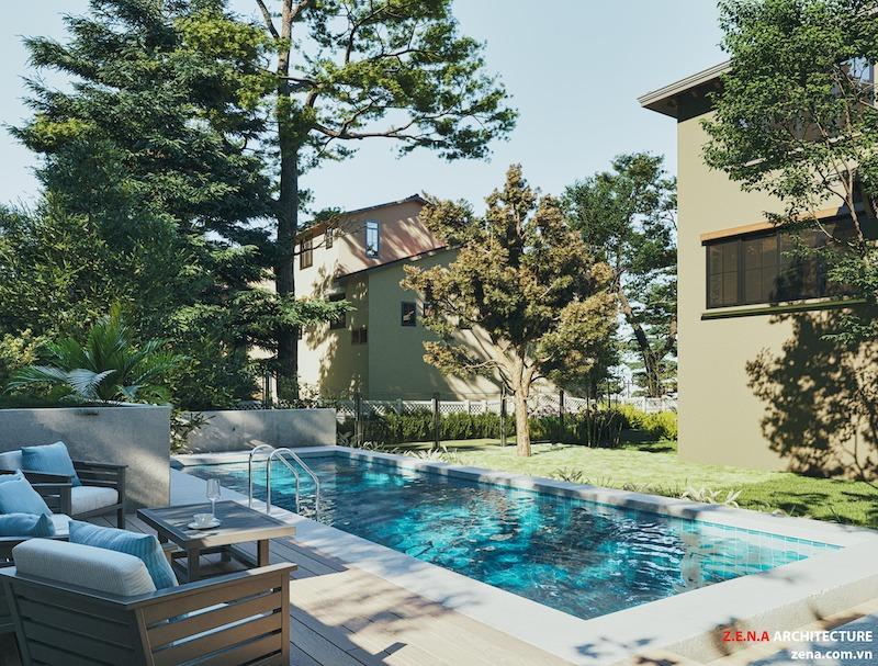 biet thu kieu my - Thiết kế biệt thự kiểu Mỹ có sân vườn hồ bơi đẹp
