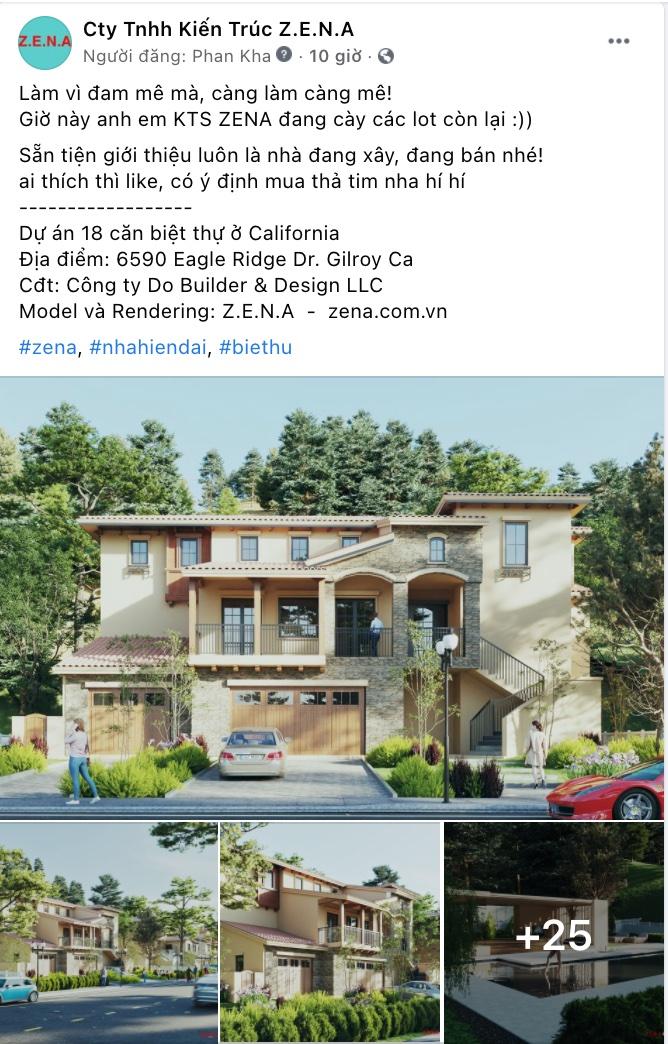 kien truc zena - Thiết kế biệt thự kiểu Mỹ có sân vườn hồ bơi đẹp