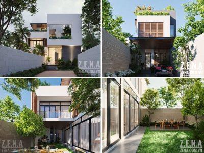 thiet ke biet thu dep hien dai 400x300 - Thiết kế biệt thự hiện đại 3 tầng hiện đại nhiều cây xanh