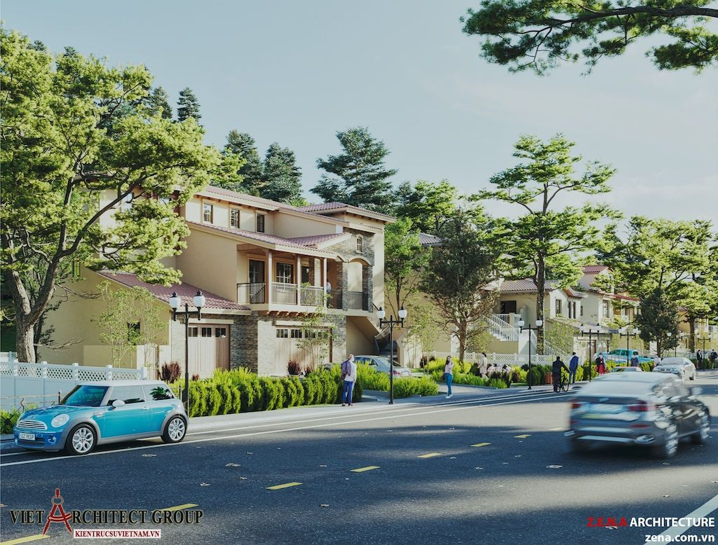 thiet ke biet thu o California my 1 - Thiết kế biệt thự kiểu Mỹ có sân vườn hồ bơi đẹp