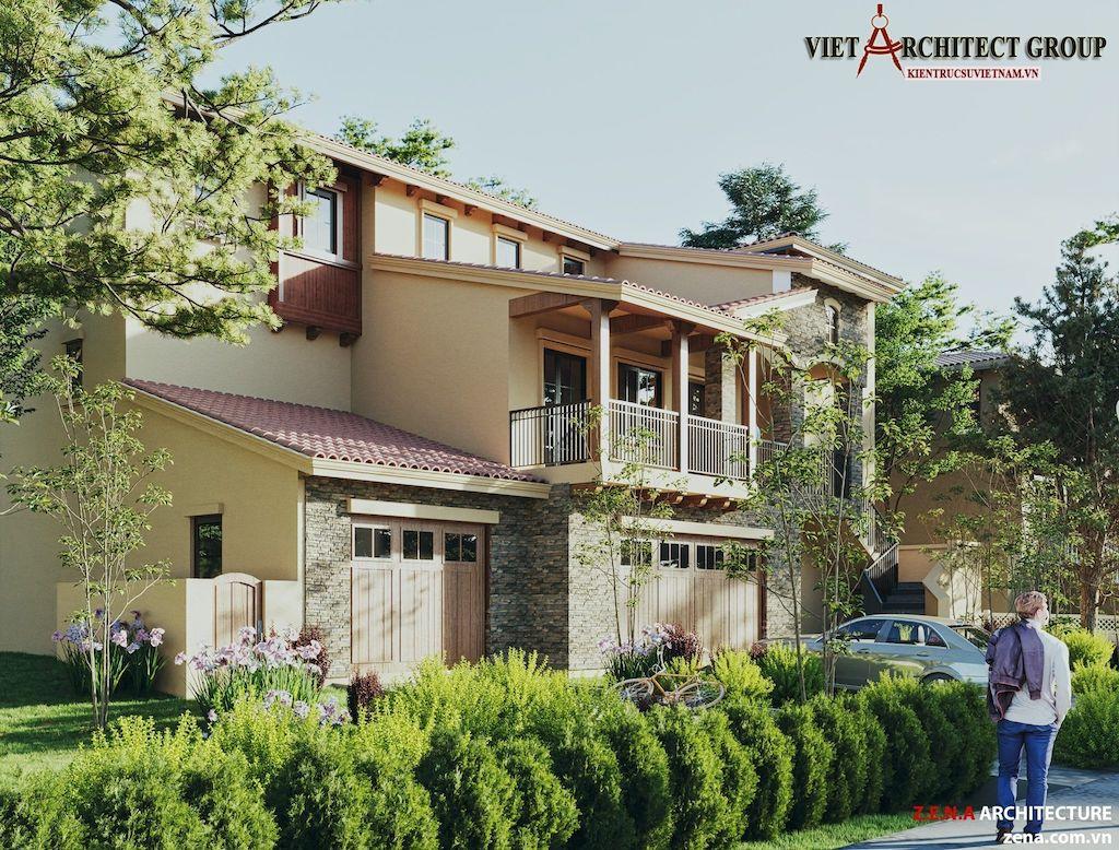 thiet ke biet thu o California my 2 - Thiết kế biệt thự kiểu Mỹ có sân vườn hồ bơi đẹp