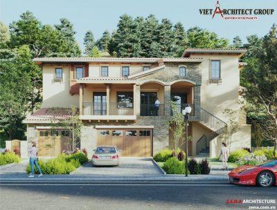 thiet ke biet thu o California my 400x304 - Dự án thiết kế 18 căn biệt thự ở California - Mỹ