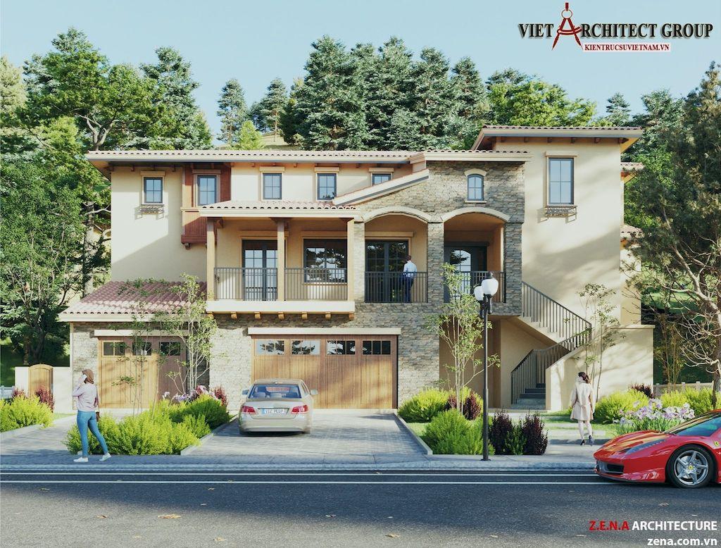 thiet ke biet thu o California my - Thiết kế biệt thự kiểu Mỹ có sân vườn hồ bơi đẹp