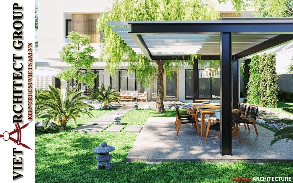 thiet ke biet thu pho phong cach hien dai 2 - Thiết kế biệt thự phố hiện đại 4 tầng đẹp nằm trong khu quy hoạch
