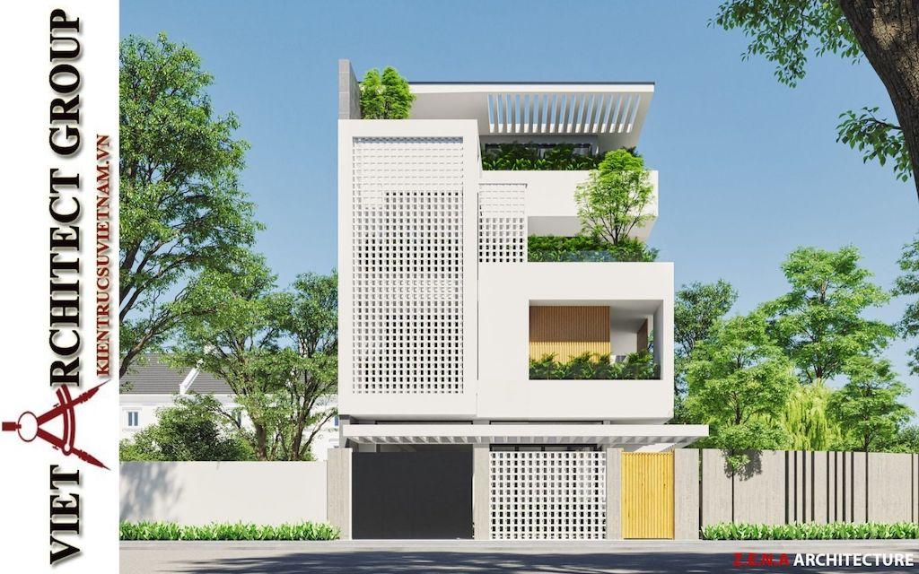 thiet ke biet thu pho phong cach hien dai - Thiết kế biệt thự phố hiện đại 4 tầng đẹp nằm trong khu quy hoạch